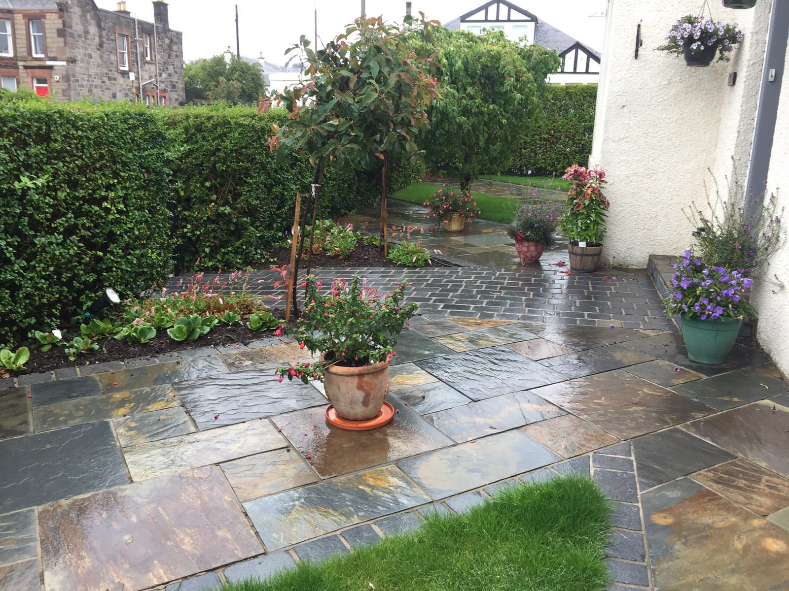Front garden design view with paths , Edinburgh