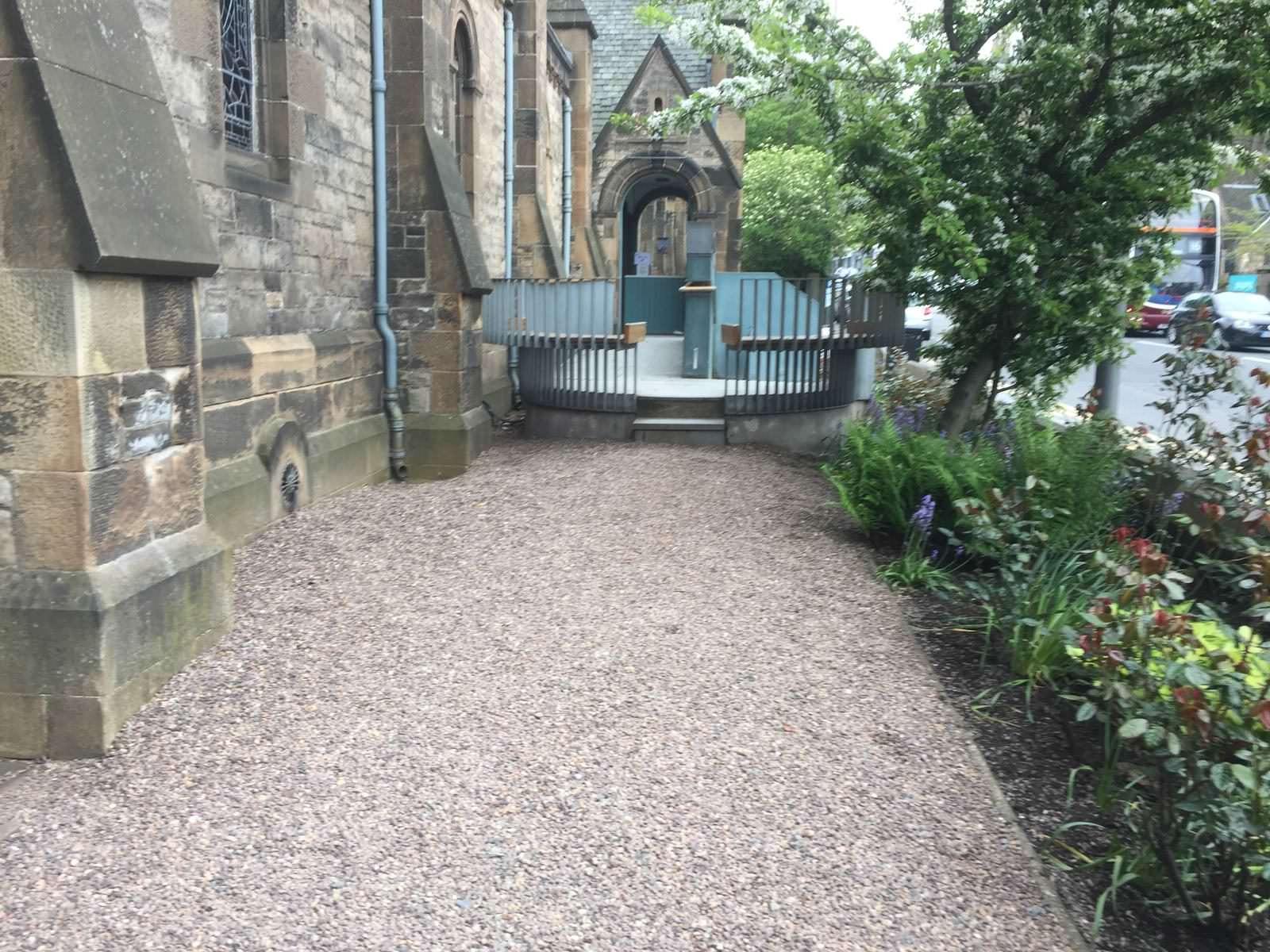 Eric Liddell Centre, Edinburgh side after new garden design