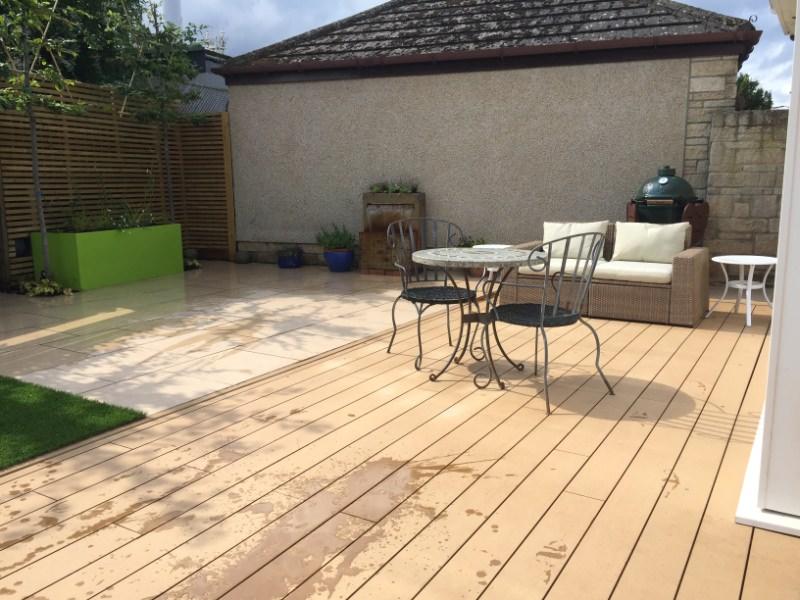 New decking in Edinburgh garden design example