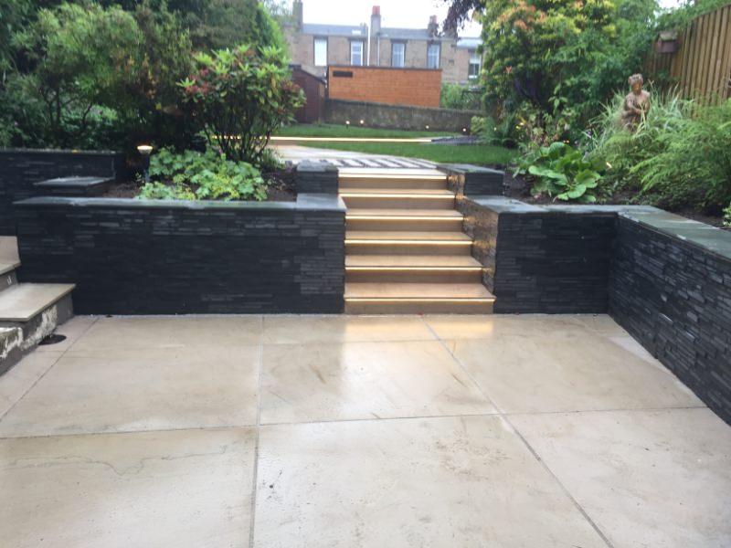 Steps and patio in Edinburgh garden design example